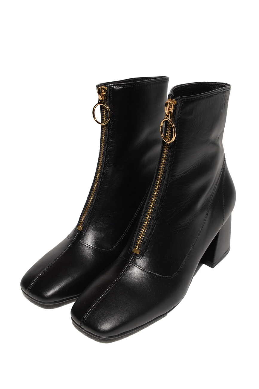FRONT ZIPPER LEATHER BOOTS