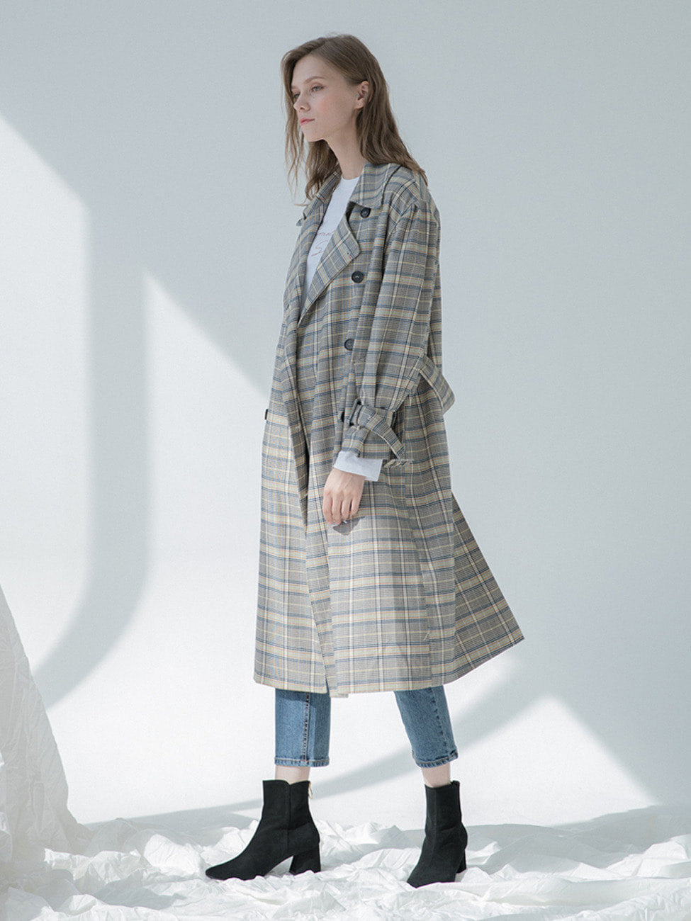 CHECK PUFF TRENCH COAT