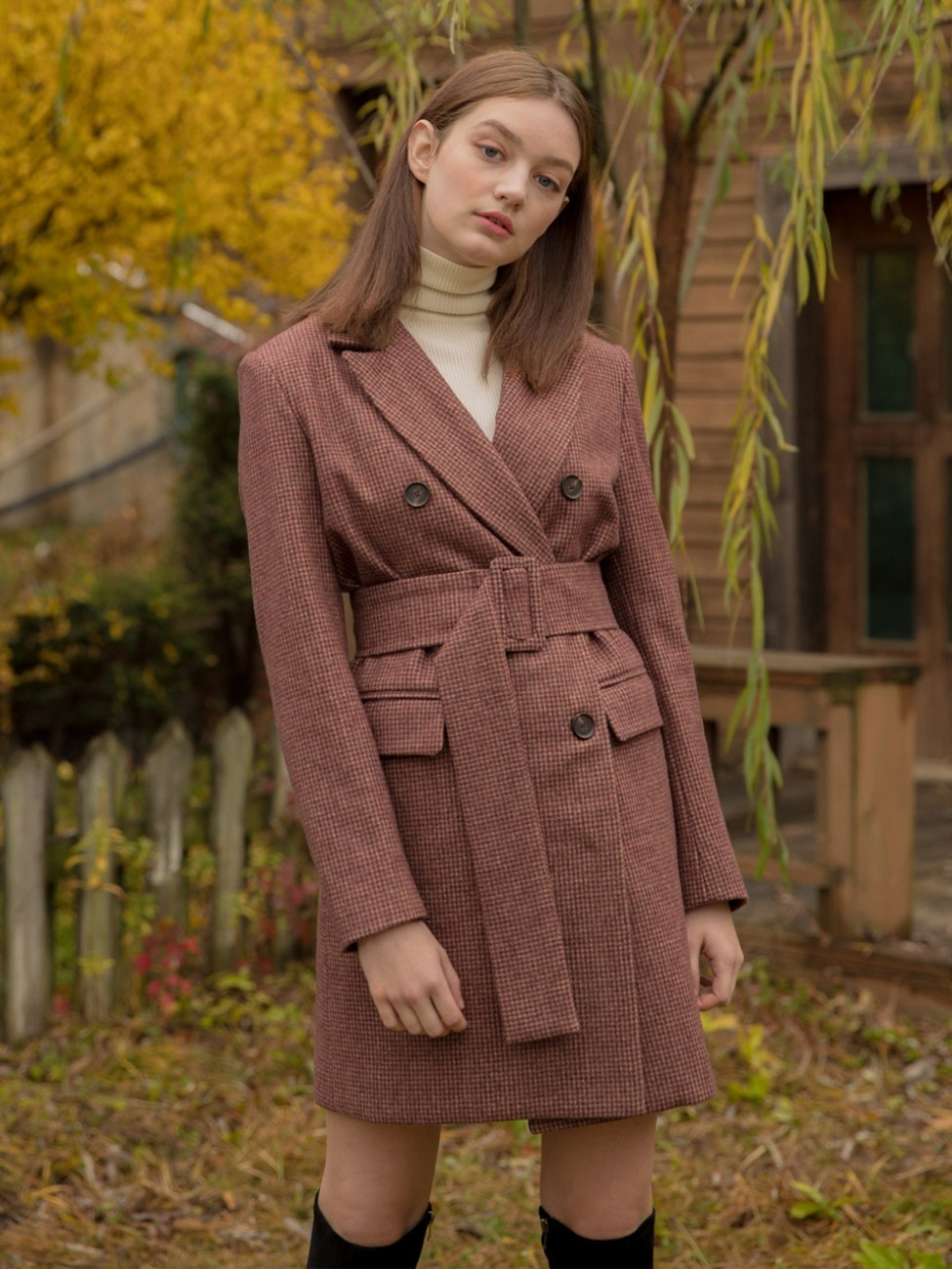 Wool Jacket Belt Dress