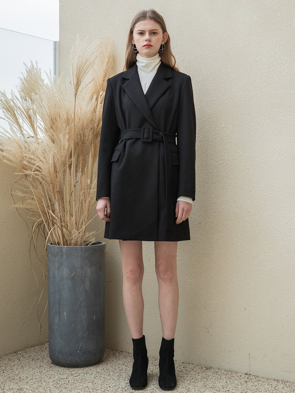 Two Button Jacket Belt Dress Black