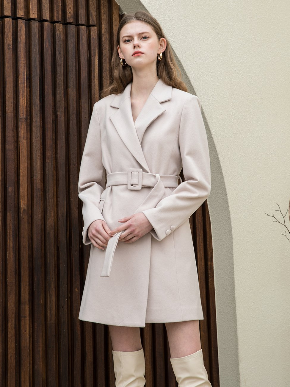 Two Button Jacket Belt Dress Cream