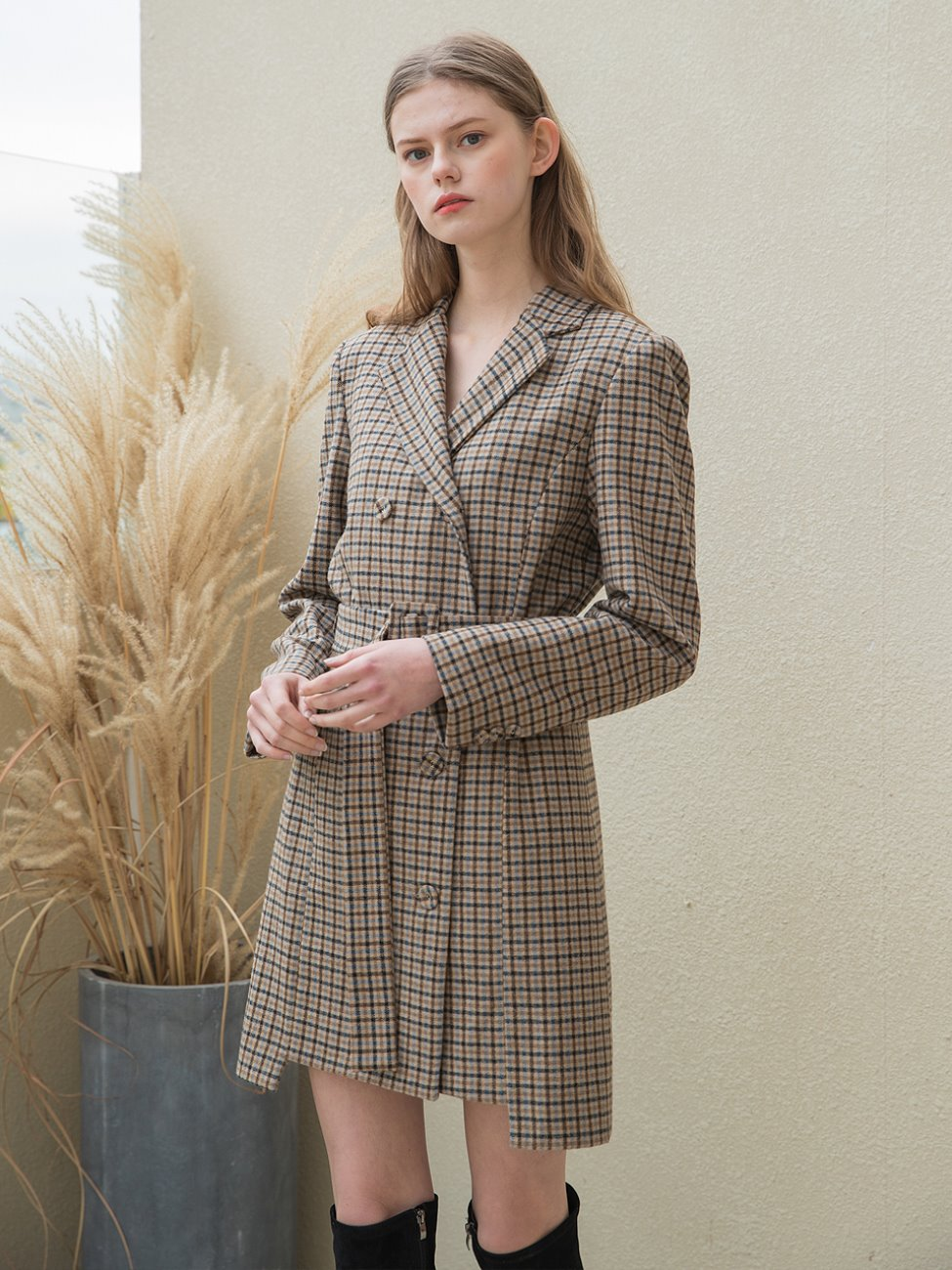 Double Jacket Check Dress