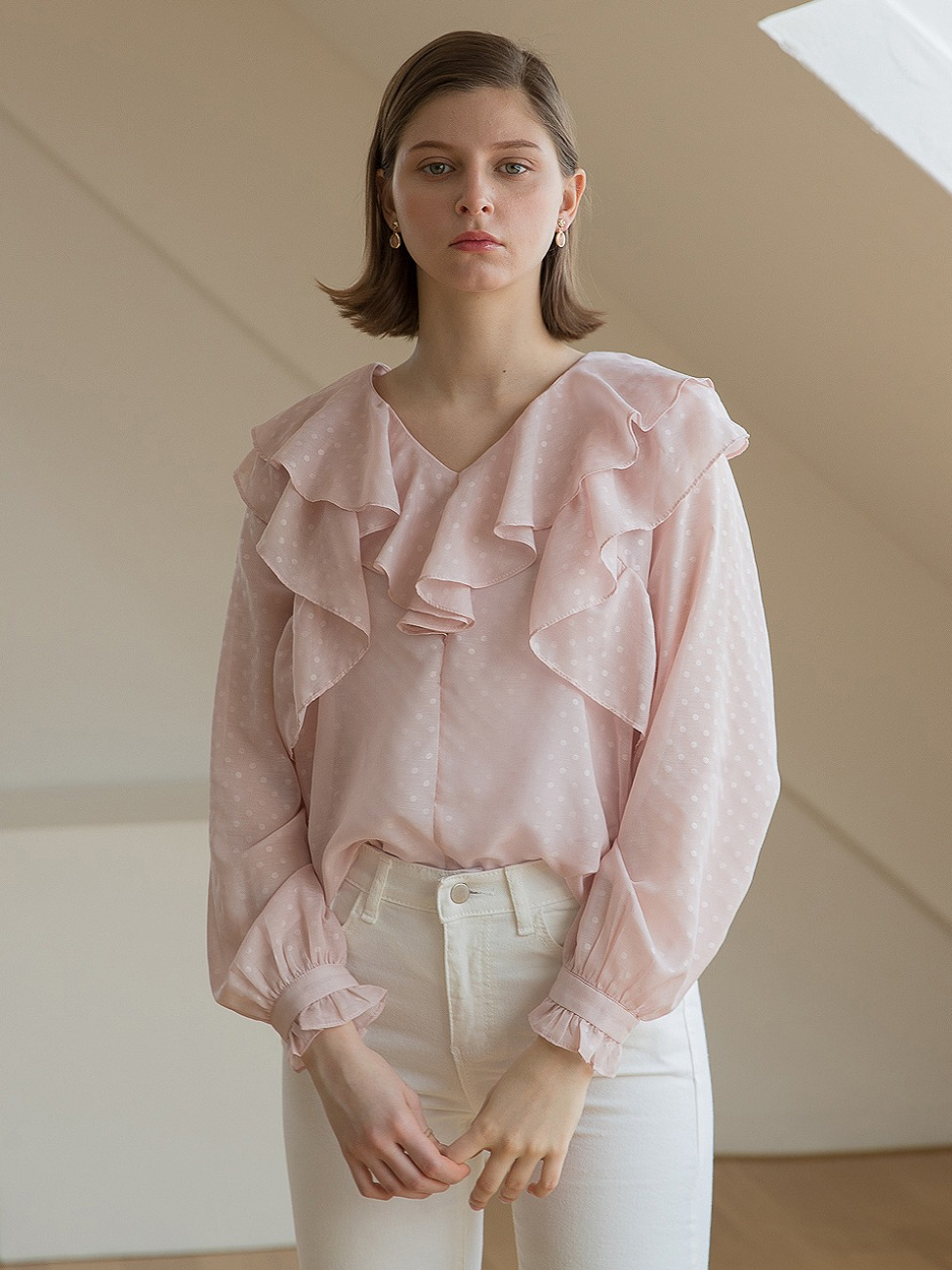 Neck Double Ruffle Blouse Pink