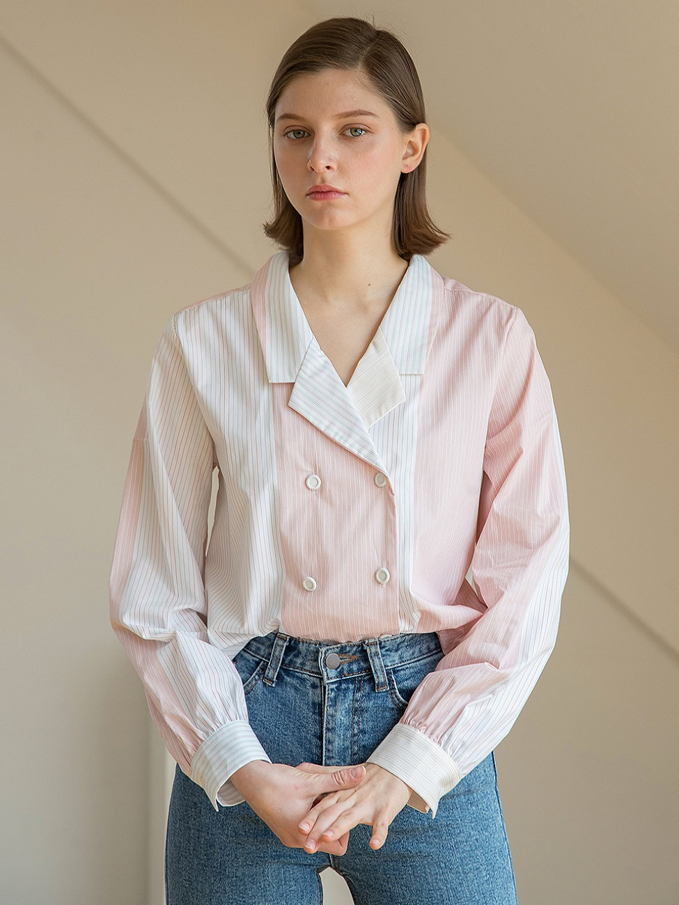 Double Cloy Stripe Blouse Pink