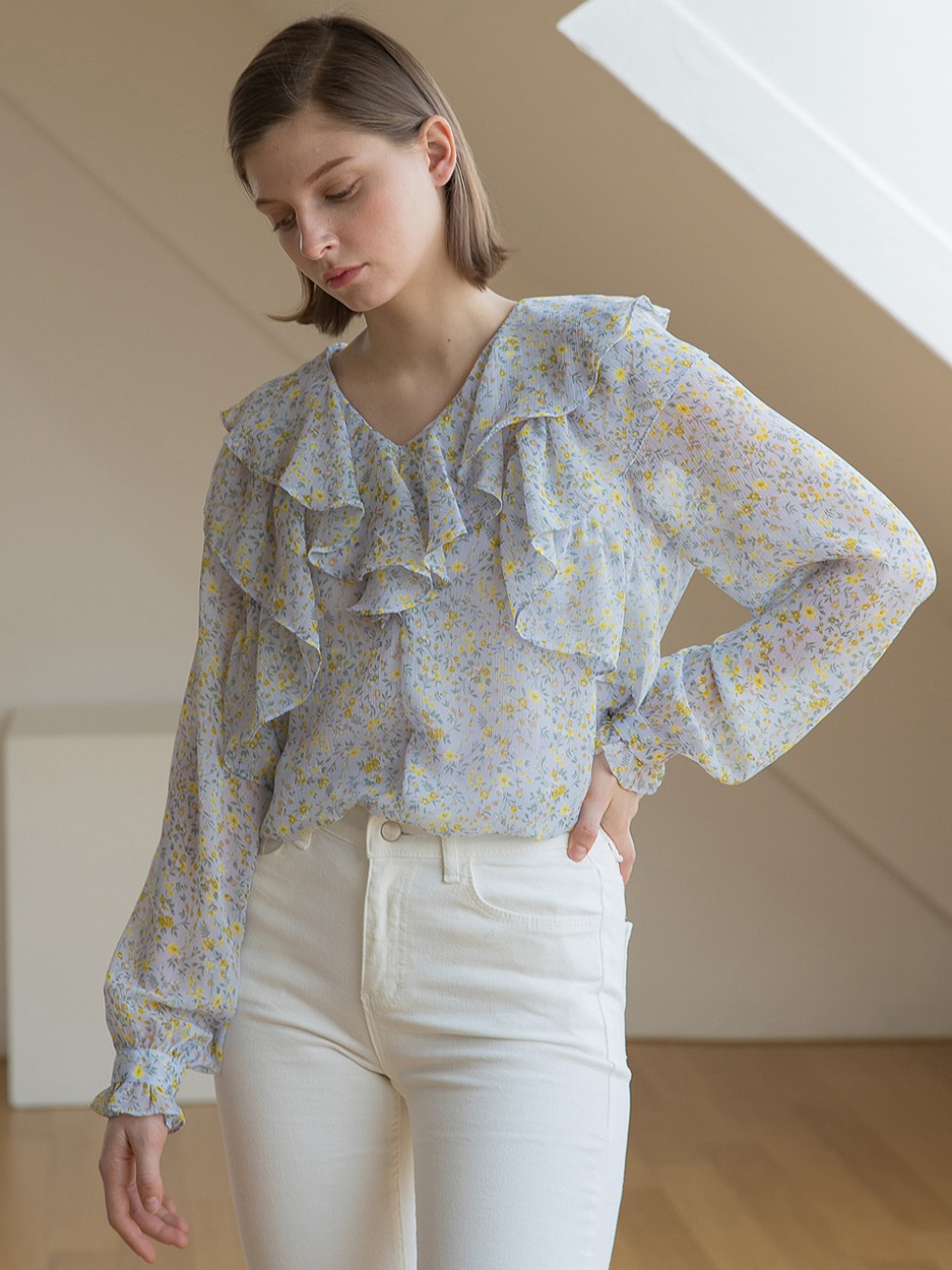 Neck Double Ruffle Blouse Sky