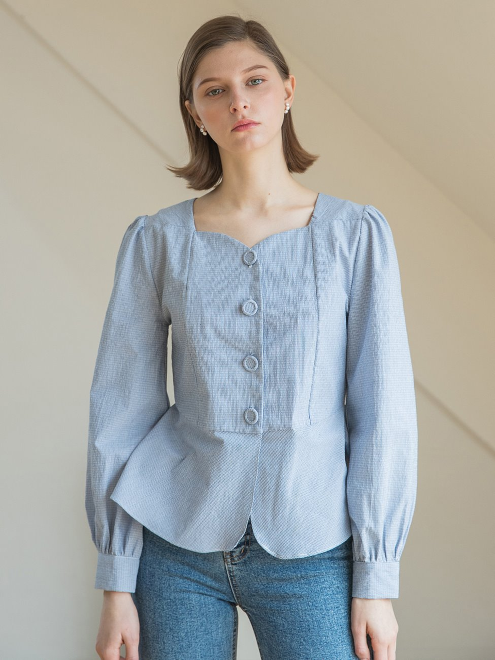 Heart Neck Flare Blouse Blue